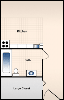 Studio / 1 Bath / 344 sq ft / Availability: Please Call / Deposit: $500